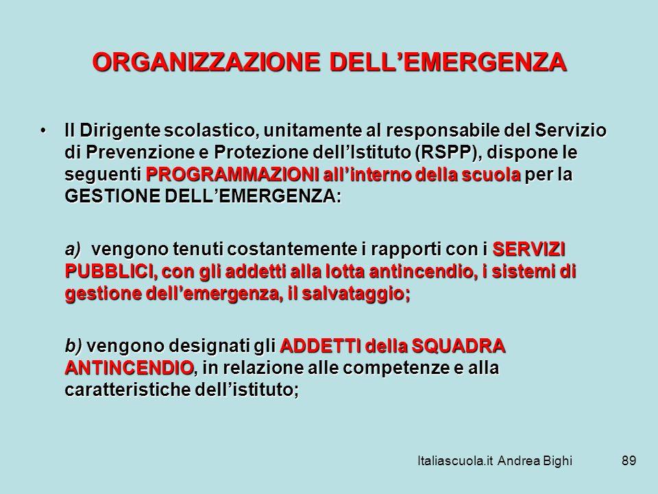 ORGANIZZAZIONE DELL'EMERGENZA