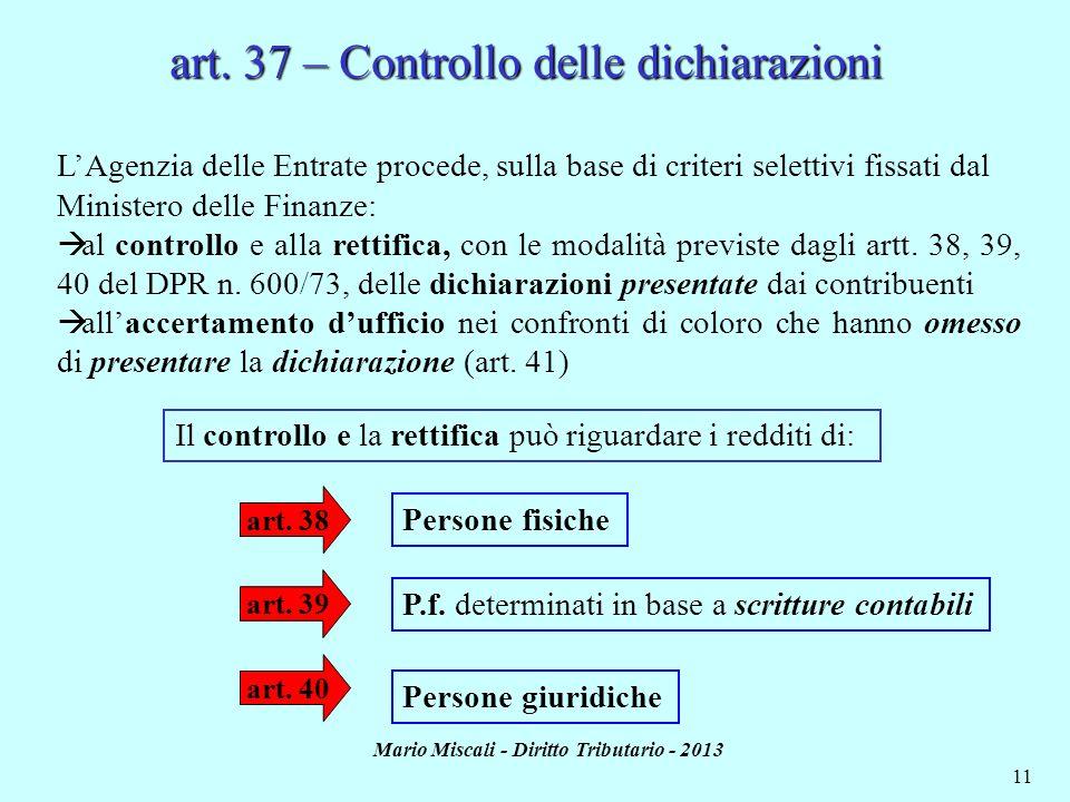 art. 37 – Controllo delle dichiarazioni