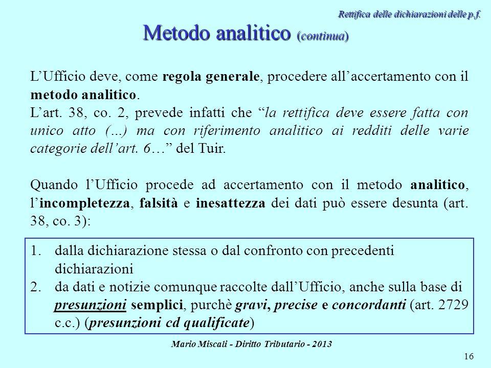Metodo analitico (continua)