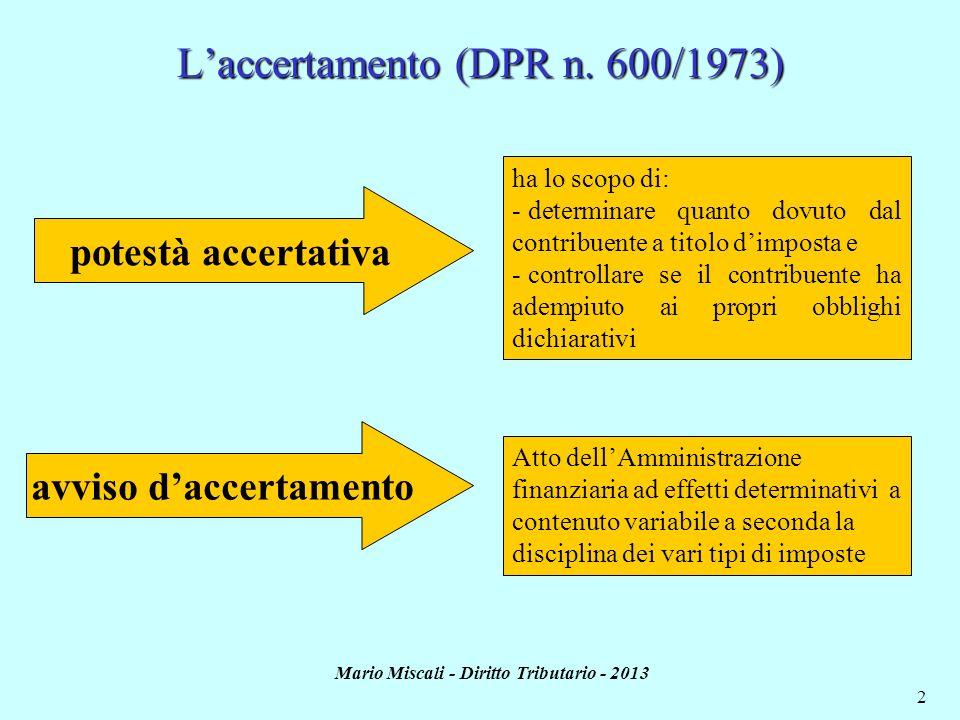 L'accertamento (DPR n. 600/1973)
