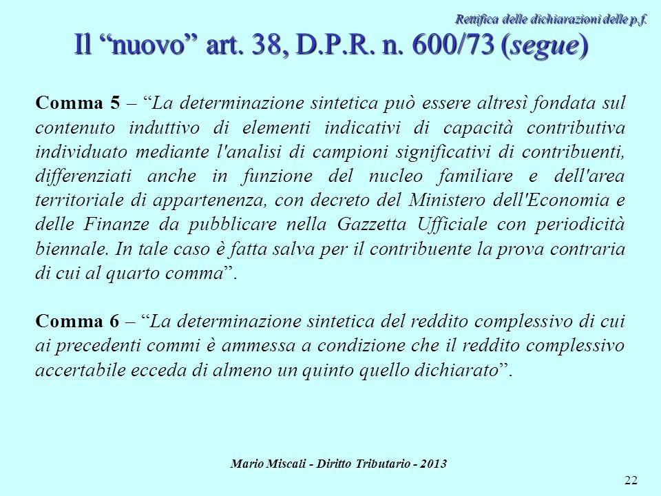 Il nuovo art. 38, D.P.R. n. 600/73 (segue)