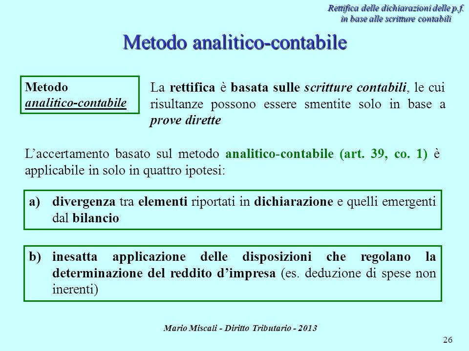 Metodo analitico-contabile
