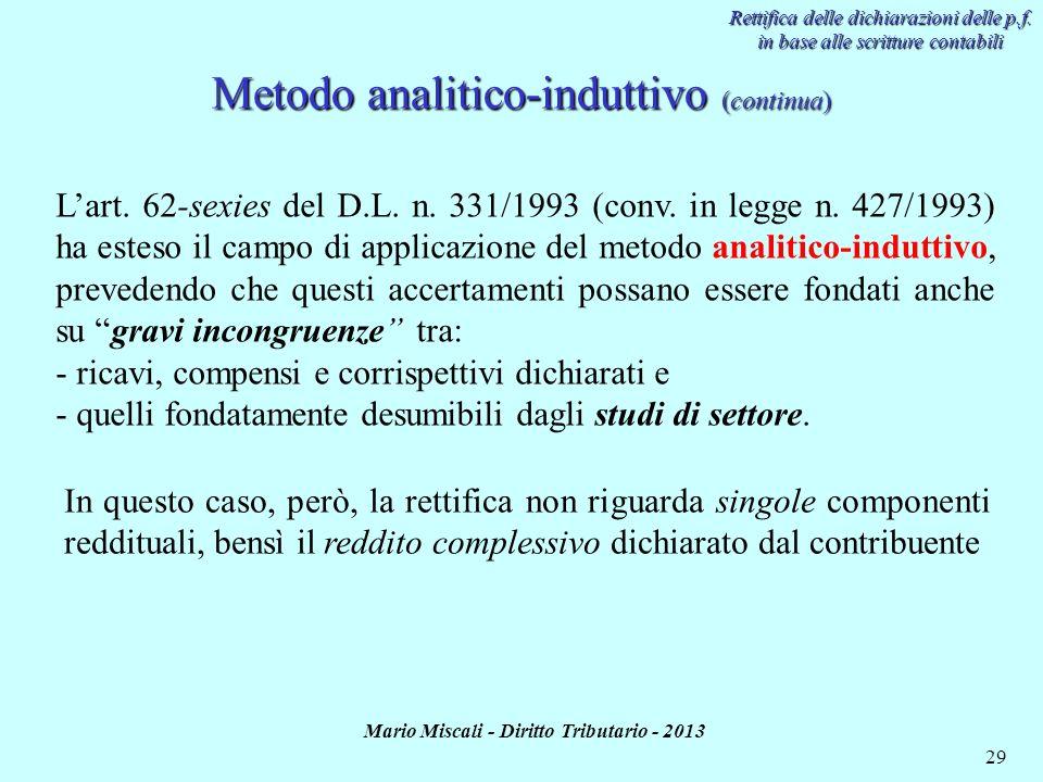 Metodo analitico-induttivo (continua)
