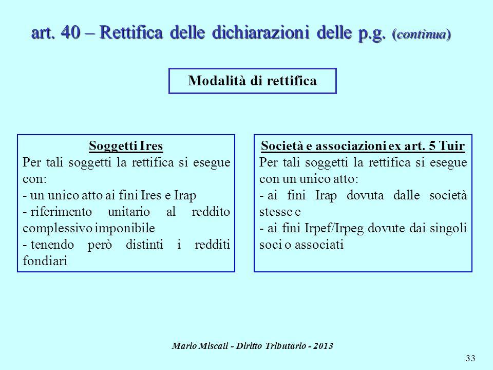 art. 40 – Rettifica delle dichiarazioni delle p.g. (continua)