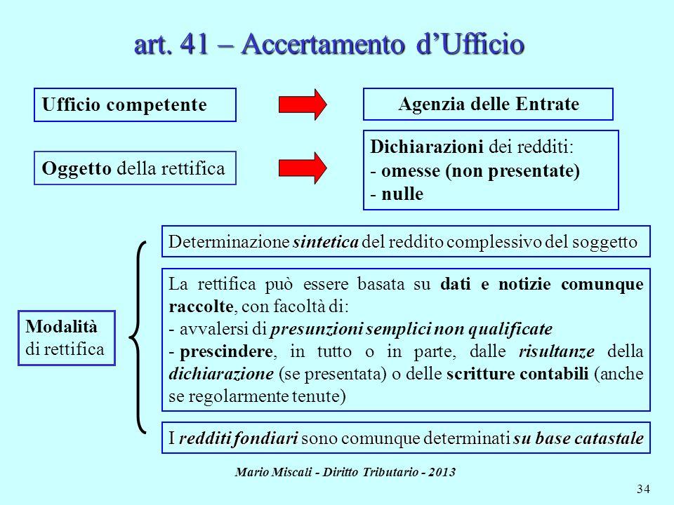 art. 41 – Accertamento d'Ufficio