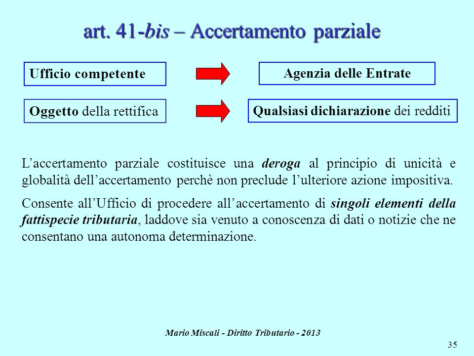 art. 41-bis – Accertamento parziale