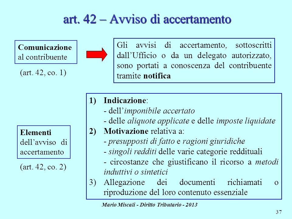 art. 42 – Avviso di accertamento