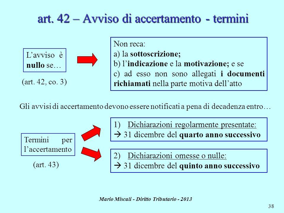 art. 42 – Avviso di accertamento - termini