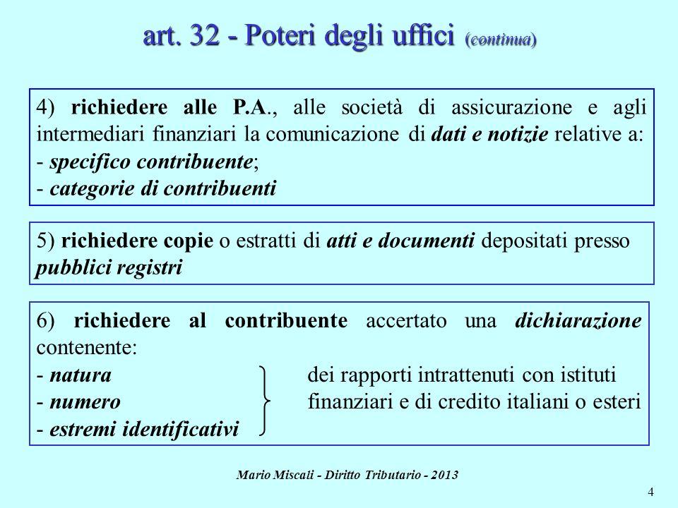 art. 32 - Poteri degli uffici (continua)
