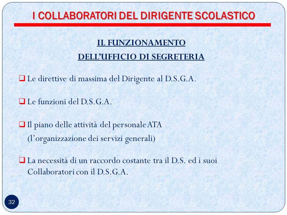 I COLLABORATORI DEL DIRIGENTE SCOLASTICO DELL'UFFICIO DI SEGRETERIA