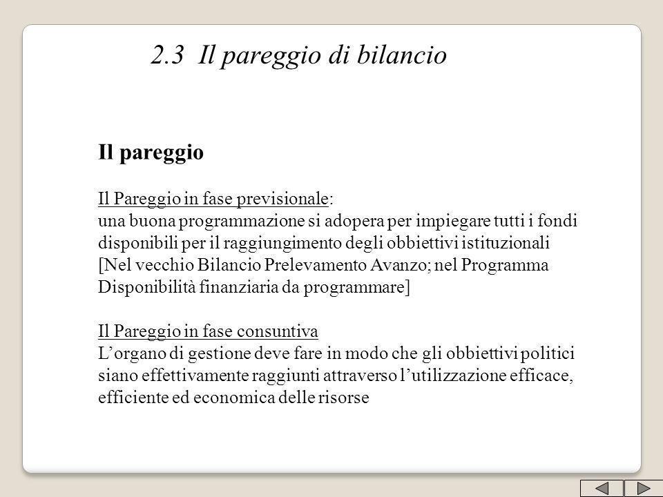 2.3 Il pareggio di bilancio