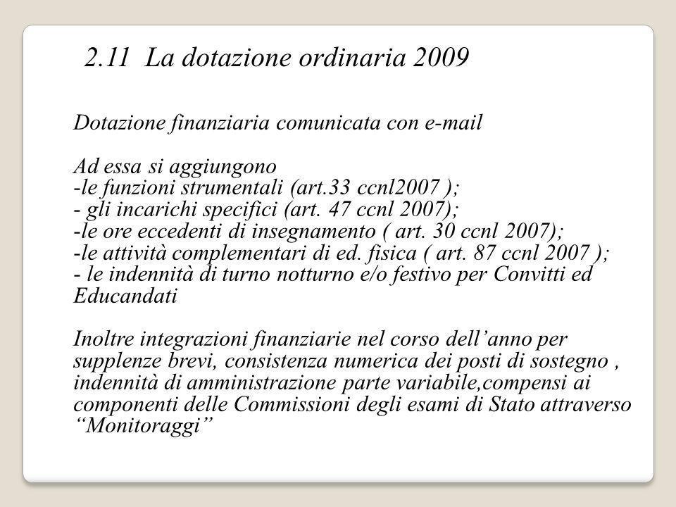 2.11 La dotazione ordinaria 2009