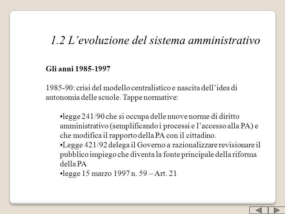 1.2 L'evoluzione del sistema amministrativo