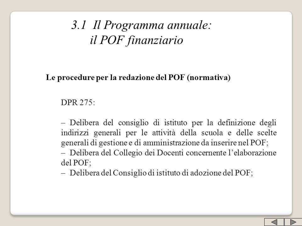 3.1 Il Programma annuale: il POF finanziario