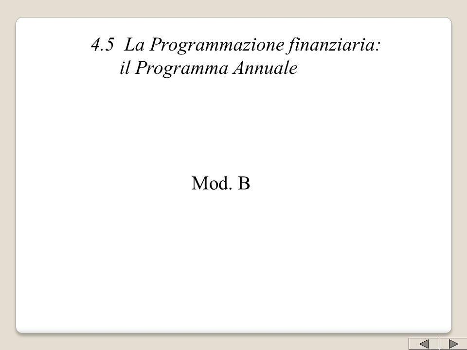 4.5 La Programmazione finanziaria: il Programma Annuale