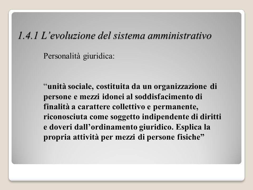 1.4.1 L'evoluzione del sistema amministrativo