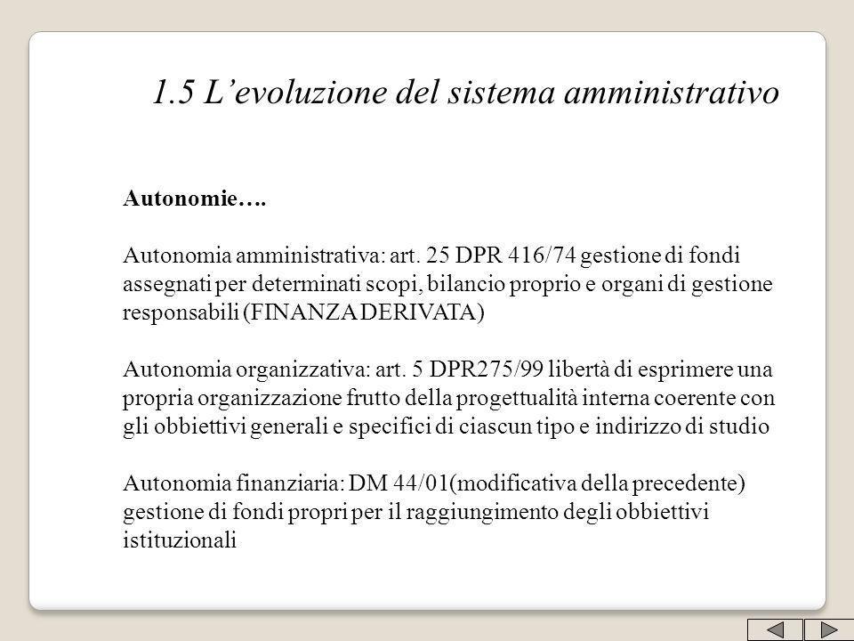 1.5 L'evoluzione del sistema amministrativo