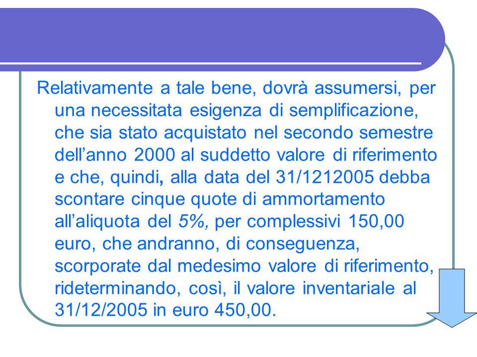 Relativamente a tale bene, dovrà assumersi, per una necessitata esigenza di semplificazione, che sia stato acquistato nel secondo semestre dell'anno 2000 al suddetto valore di riferimento e che, quindi, alla data del 31/1212005 debba scontare cinque quote di ammortamento all'aliquota del 5%, per complessivi 150,00 euro, che andranno, di conseguenza, scorporate dal medesimo valore di riferimento, rideterminando, così, il valore inventariale al 31/12/2005 in euro 450,00.