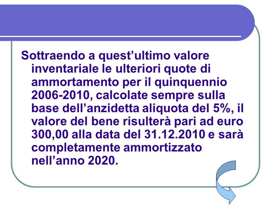 Sottraendo a quest'ultimo valore inventariale le ulteriori quote di ammortamento per il quinquennio 2006-2010, calcolate sempre sulla base dell'anzidetta aliquota del 5%, il valore del bene risulterà pari ad euro 300,00 alla data del 31.12.2010 e sarà completamente ammortizzato nell'anno 2020.