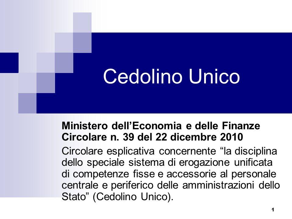 Cedolino Unico Ministero dell'Economia e delle Finanze Circolare n. 39 del 22 dicembre 2010.