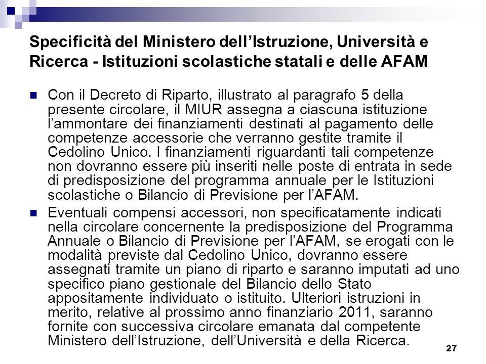Specificità del Ministero dell'Istruzione, Università e Ricerca - Istituzioni scolastiche statali e delle AFAM
