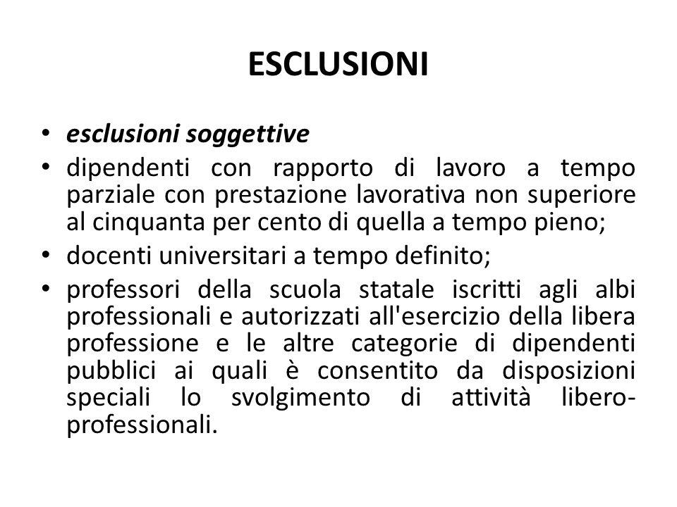 ESCLUSIONI esclusioni soggettive