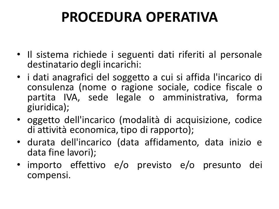 PROCEDURA OPERATIVA Il sistema richiede i seguenti dati riferiti al personale destinatario degli incarichi: