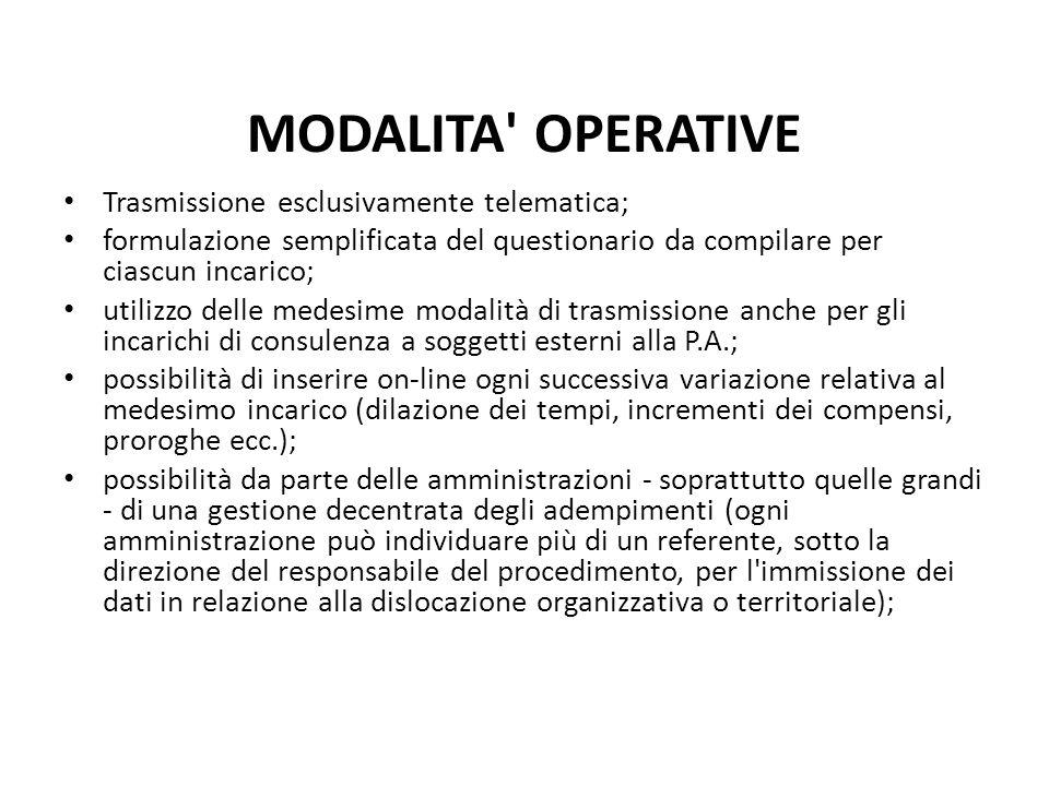 MODALITA OPERATIVE Trasmissione esclusivamente telematica;