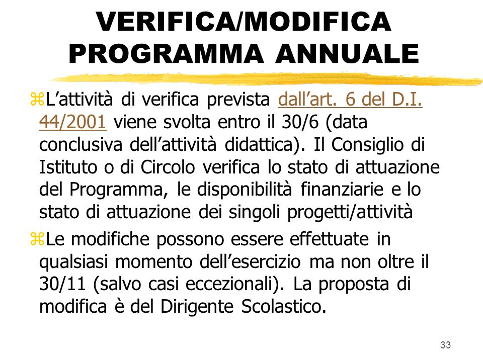VERIFICA/MODIFICA PROGRAMMA ANNUALE