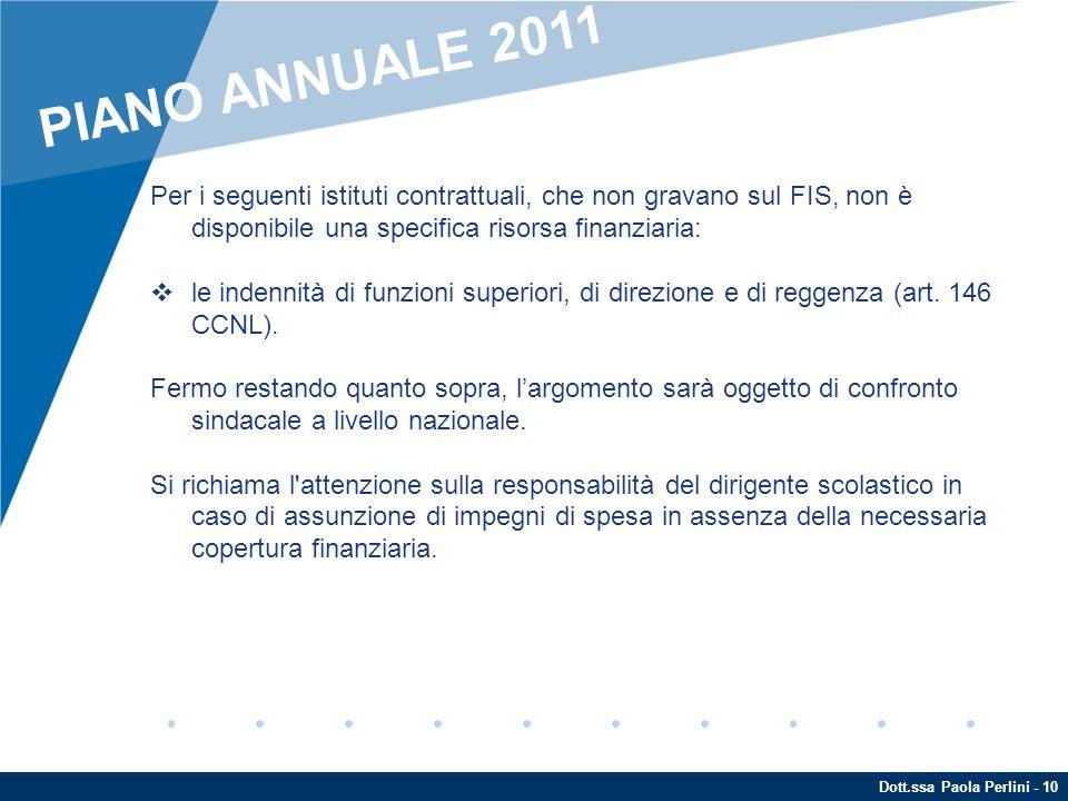 PIANO ANNUALE 2011 Per i seguenti istituti contrattuali, che non gravano sul FIS, non è disponibile una specifica risorsa finanziaria: