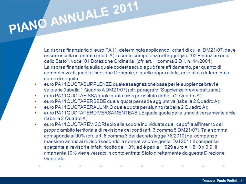 PIANO ANNUALE 2011 ENTRATE.
