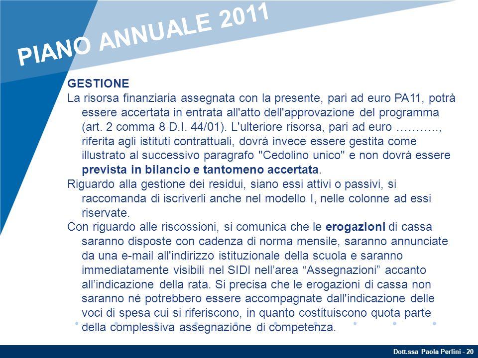 PIANO ANNUALE 2011 GESTIONE