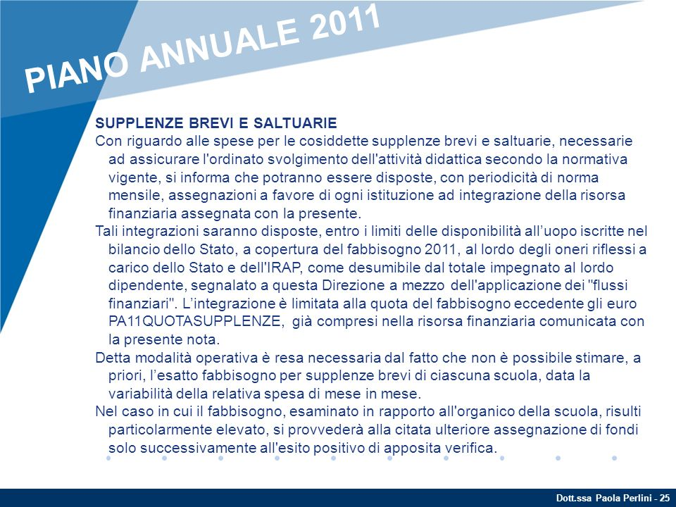 PIANO ANNUALE 2011 SUPPLENZE BREVI E SALTUARIE