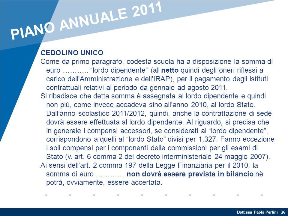 PIANO ANNUALE 2011 CEDOLINO UNICO