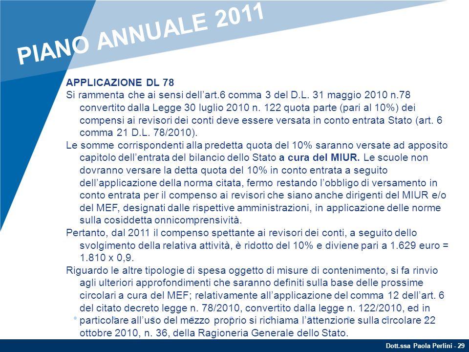 PIANO ANNUALE 2011 APPLICAZIONE DL 78