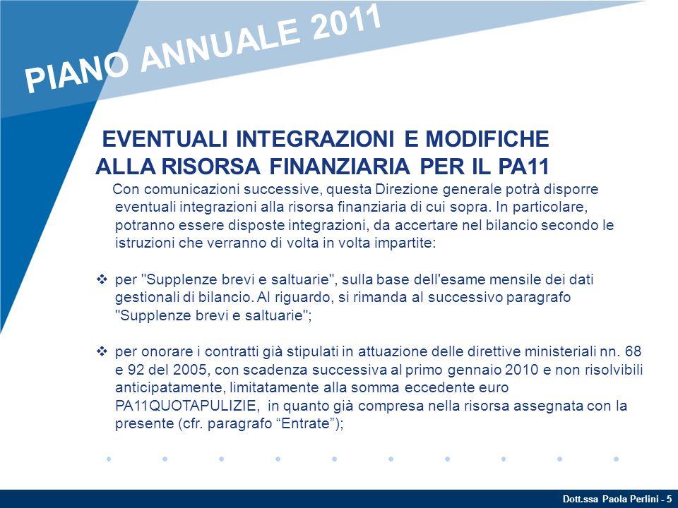 PIANO ANNUALE 2011 EVENTUALI INTEGRAZIONI E MODIFICHE