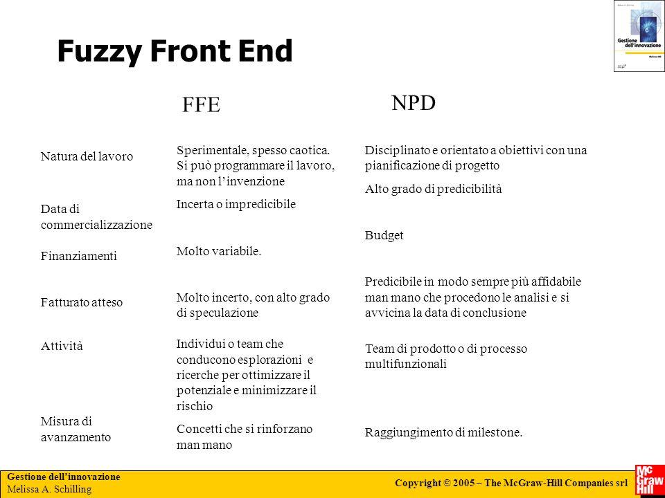 Fuzzy Front End FFE. NPD. Sperimentale, spesso caotica. Si può programmare il lavoro, ma non l'invenzione.