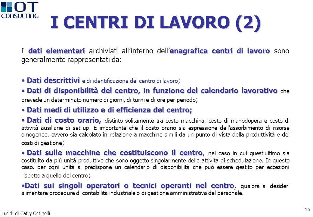 I CENTRI DI LAVORO (2) I dati elementari archiviati all'interno dell'anagrafica centri di lavoro sono generalmente rappresentati da: