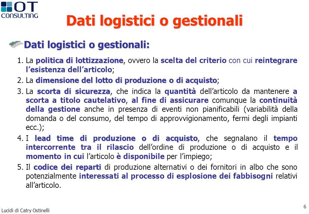Dati logistici o gestionali