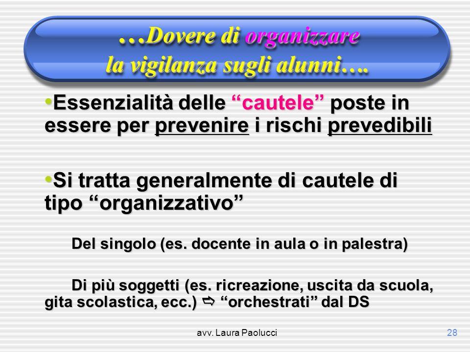 …Dovere di organizzare la vigilanza sugli alunni….