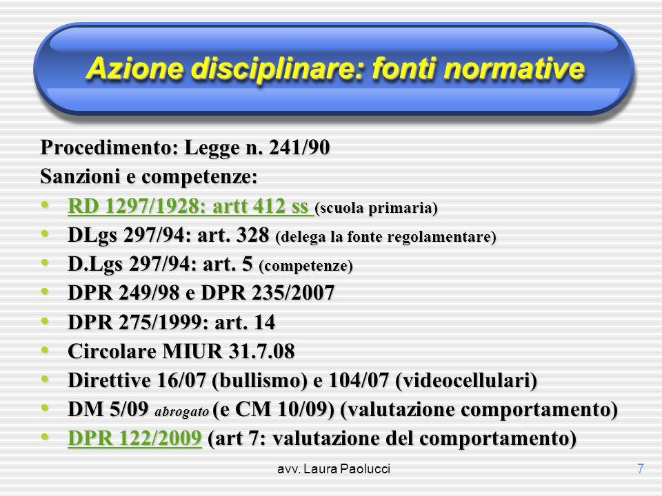 Azione disciplinare: fonti normative