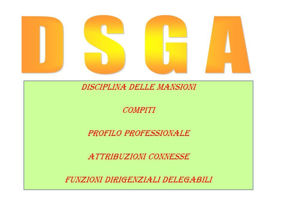 D S G A DISCIPLINA DELLE MANSIONI COMPITI PROFILO PROFESSIONALE