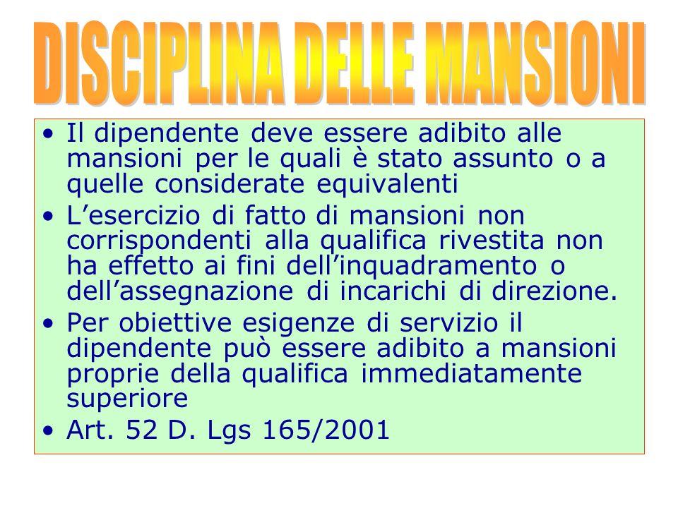 DISCIPLINA DELLE MANSIONI