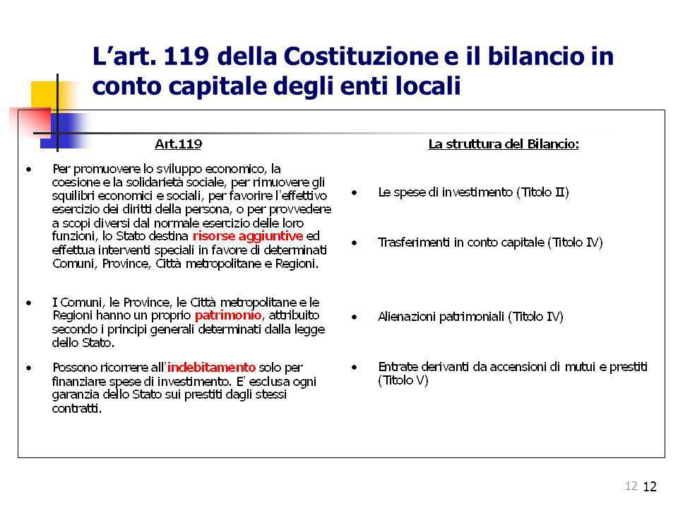 L'art. 119 della Costituzione e il bilancio in conto capitale degli enti locali