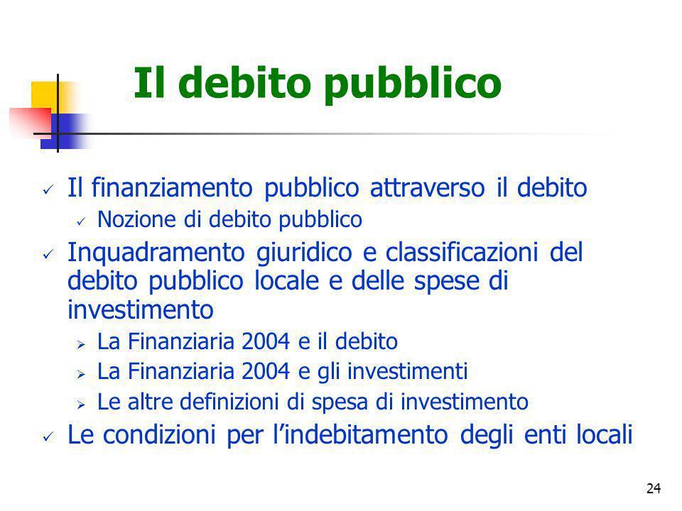 Il debito pubblico Il finanziamento pubblico attraverso il debito
