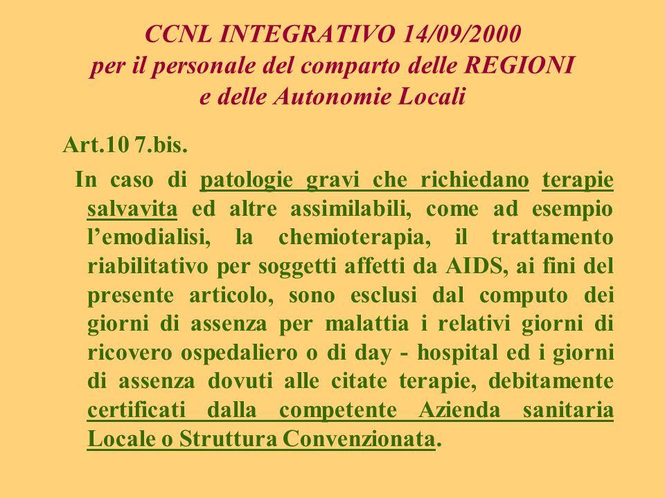 CCNL INTEGRATIVO 14/09/2000 per il personale del comparto delle REGIONI e delle Autonomie Locali