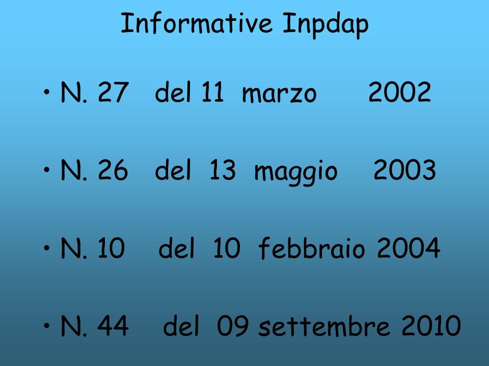 Informative Inpdap N. 27 del 11 marzo 2002. N. 26 del 13 maggio 2003. N. 10 del 10 febbraio 2004.