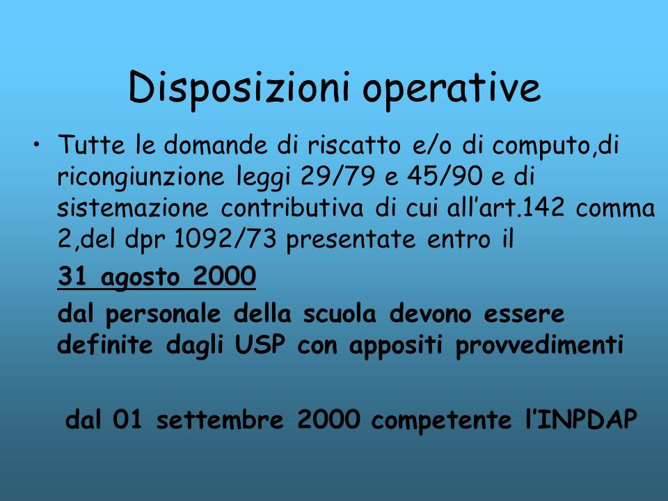 Disposizioni operative