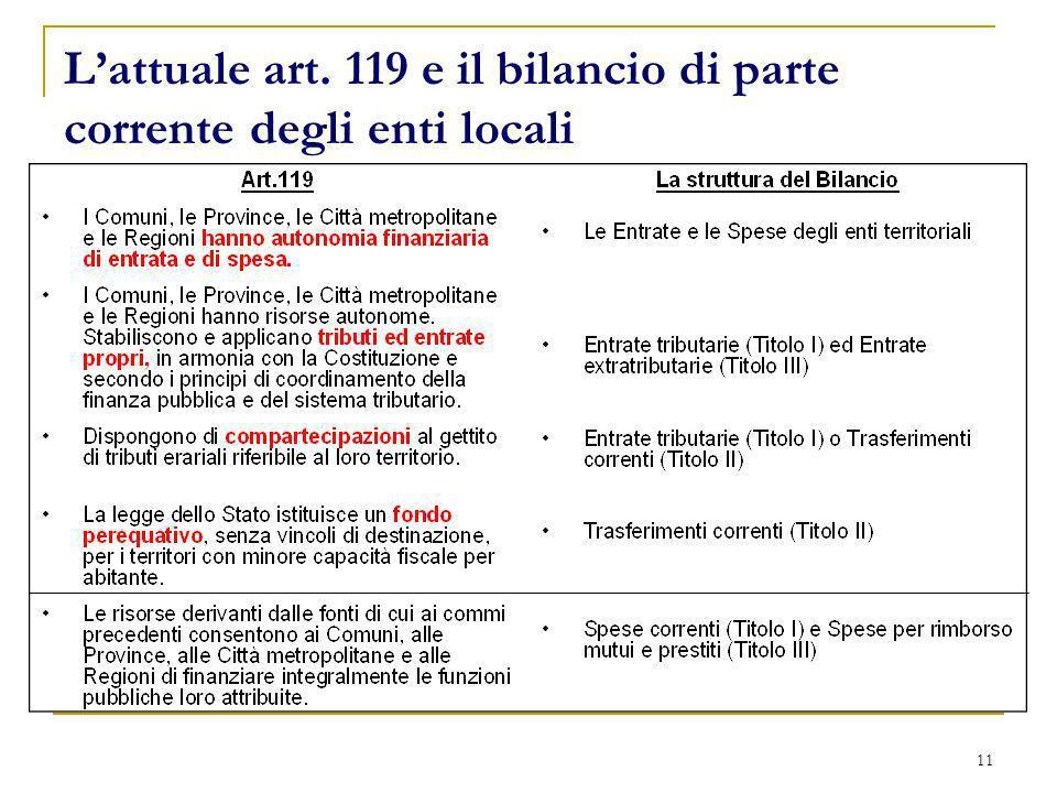 L'attuale art. 119 e il bilancio di parte corrente degli enti locali