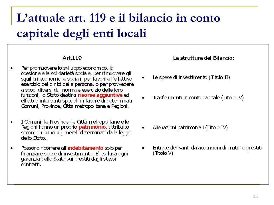 L'attuale art. 119 e il bilancio in conto capitale degli enti locali